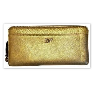 Diane von Furstenberg Metallic Leather Wallet